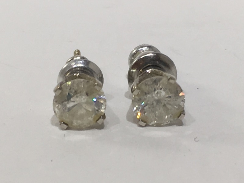 Gold-Diamond Earrings 2 Diamonds 1.30 Carat T.W. 14K White Gold 0.79g