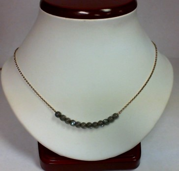 "16"" Gray Stone Stone Necklace Yellow Gold Filled 2.4g"