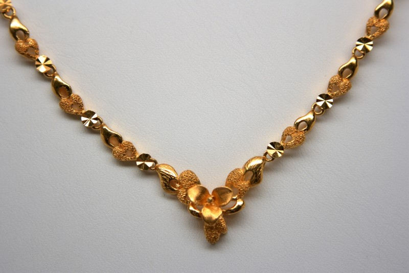 "16"" FASHION STYLE  NECKLACE 22KYG 12.4G"