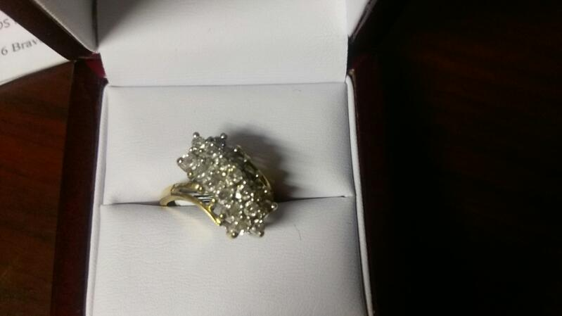Lady's Diamond Cluster Ring 20 Diamonds 1.00 Carat T.W. 14K Yellow Gold 5.2g