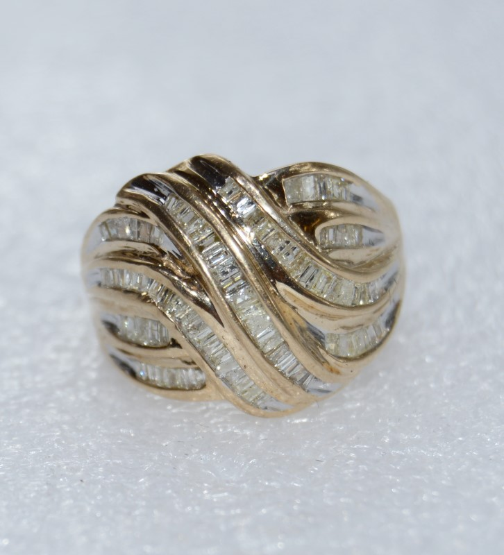 10K Yellow Gold Unique Baguette Diamond Ribbon Swirl Cluster Dome Statement Ring