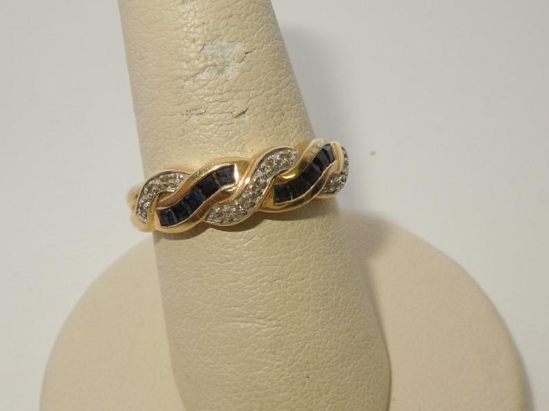 Synthetic Sapphire Lady's Stone & Diamond Ring 11 Diamonds .11 Carat T.W.