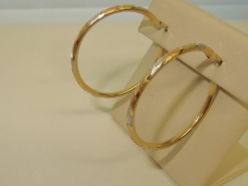 Gold Earrings 14K Tri-color Gold 3.7g