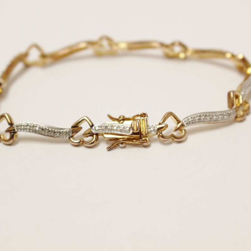 "7"" Sterling Silver & Gold-Toned Heart Bracelet"