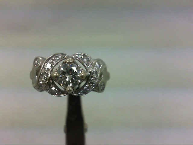 Lady's Diamond Fashion Ring 13 Diamonds .65 Carat T.W. 14K White Gold 3.33g