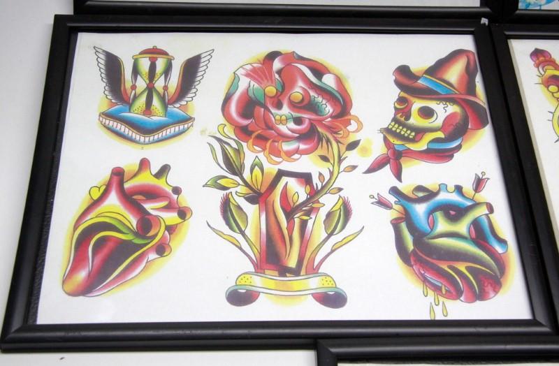 FRAMED TATTOO FLASH ART- 5 PIECES
