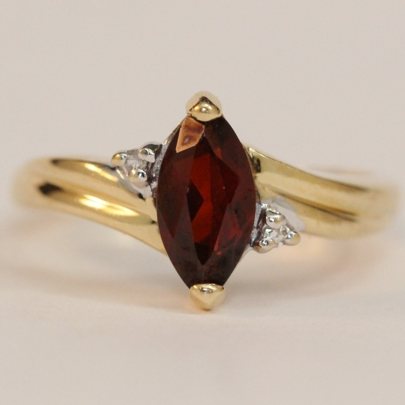 14K Yellow Gold Marquise Garnet and Diamond Ring Size 6.5