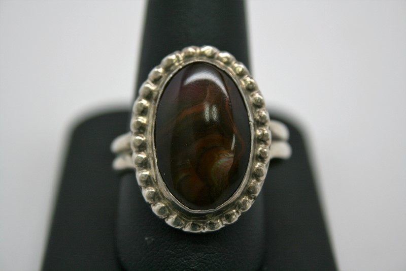 FIRE AGATE SILVER RING 13