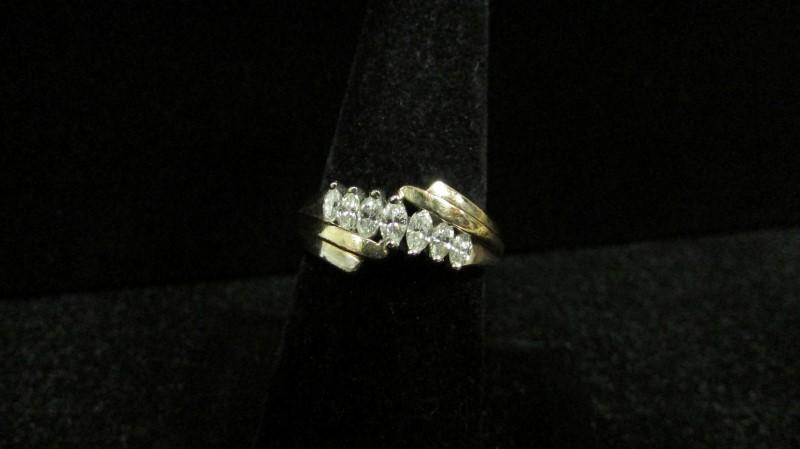 Lady's Diamond Fashion Ring 7 Diamonds 0.46 Carat T.W. 14K 2 Tone Gold 5.2g