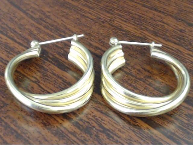 """VINTAGE TRIPLE BAND TWIST HOOP EARRINGS REAL 14K YELLOW GOLD 5.3g 1"""""""