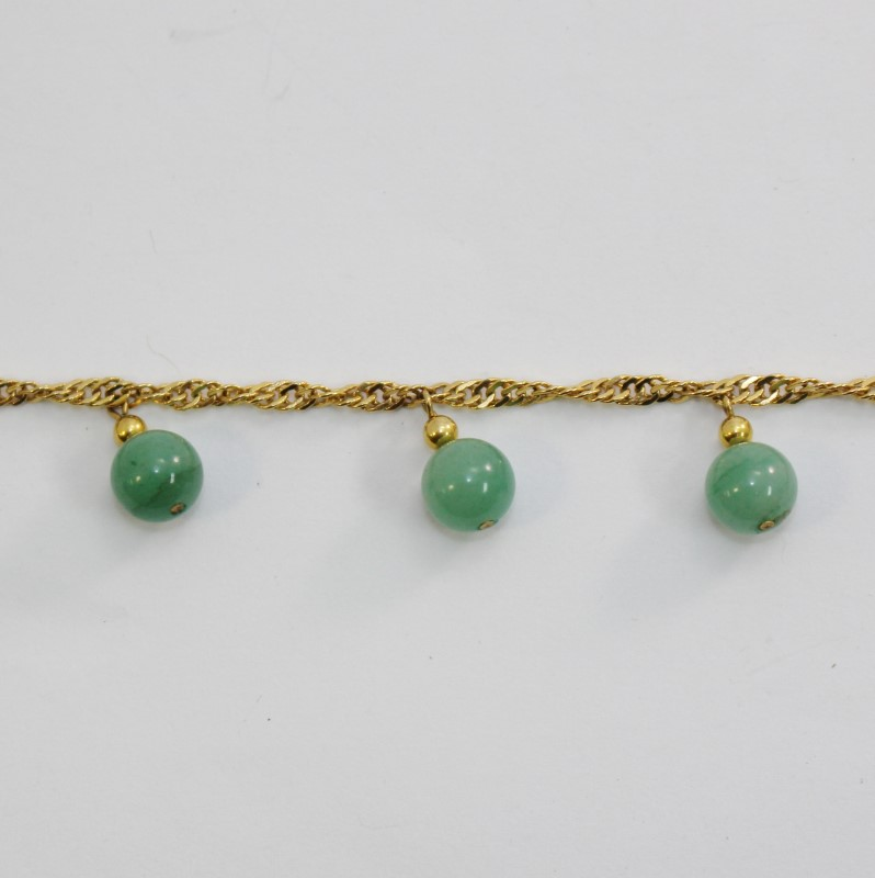 "8"" Yellow Gold Plated Light Green Jade Bead Dangle Bracelet/Anklet"