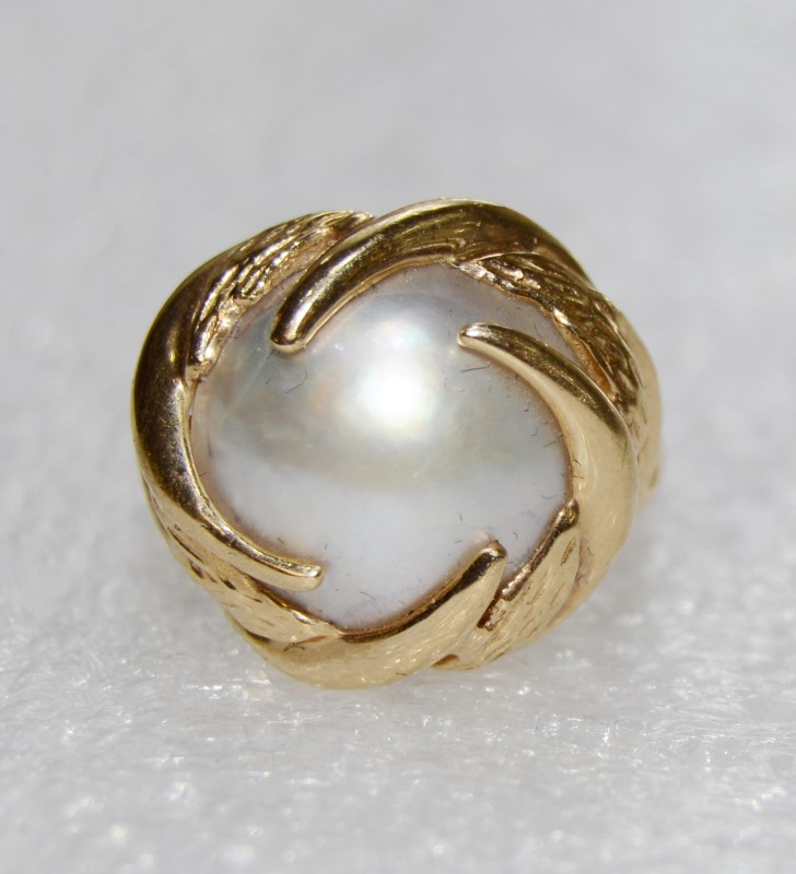 14K Yellow Gold Vintage Inspired Split Shank Baroque Pearl Wave Cocktail Ring 6