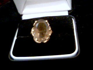 Brown Stone Lady's Stone Ring 10K Yellow Gold 6.2g Size:8.5