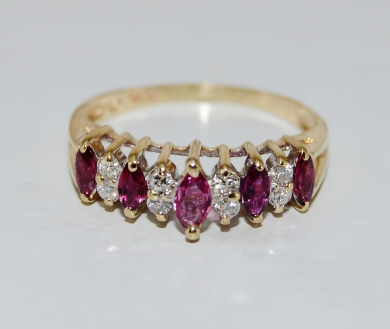 14K Yellow Gold Marquise Ruby & Diamond Row Ring SIZE 7