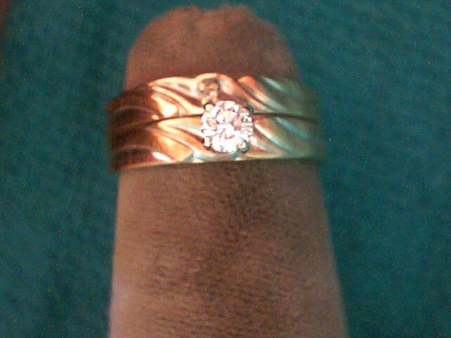 Lady's Diamond Wedding Set 2 Diamonds .16 Carat T.W. 14K Yellow Gold 2.1dwt