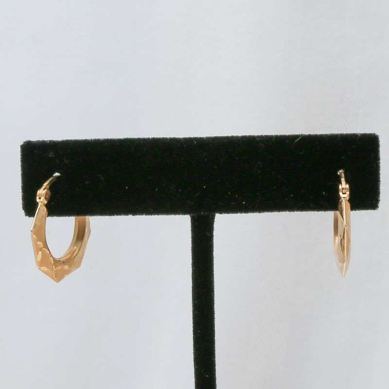 14K Yellow Gold Octogon Shaped Earrings