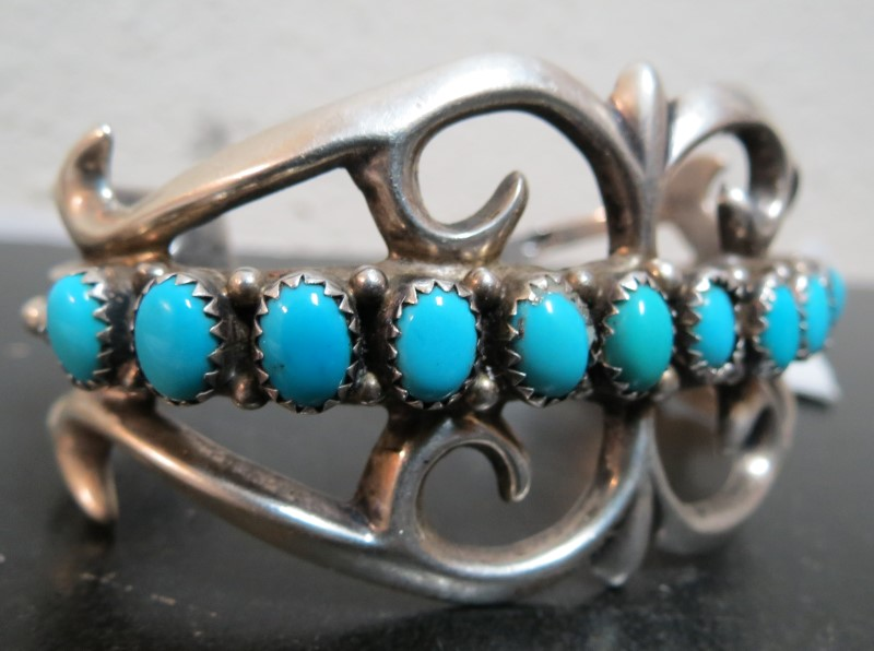 Sandcast Sterling & American Turquoise Cuff Bracelet By Sadie Randolph of Gallup