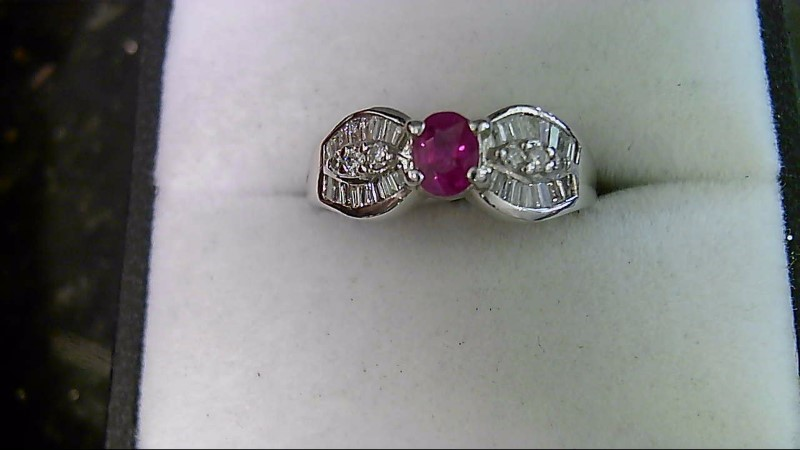 Synthetic Ruby Lady's Stone & Diamond Ring 34 Diamonds .36 Carat T.W.