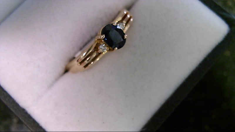 ESTATE YG 5X4 OVAL BLUE SAPP WITH 2-1MM RD DIAMOND LADIES RING