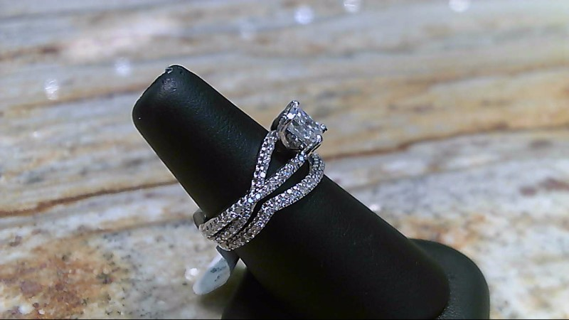 Lady's Diamond Wedding Set princess cut center 1.02ct  2cttw 14K White Gold 6.9g
