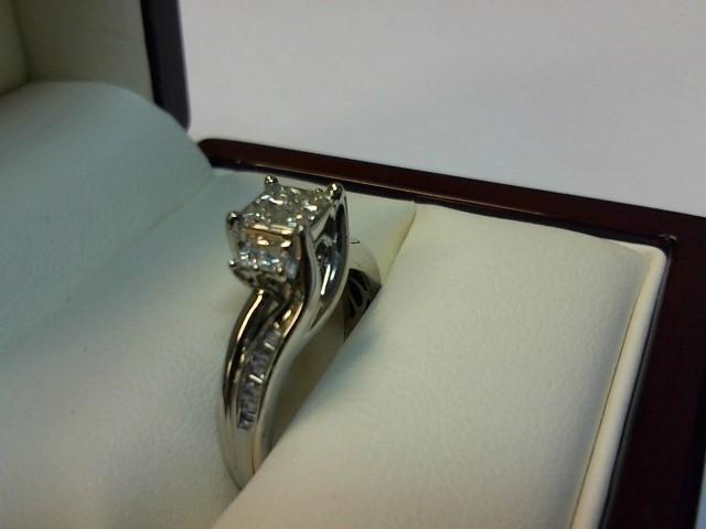 Lady's Diamond Engagement Ring 26 Diamonds .74 Carat T.W. 10K White Gold 2.3dwt