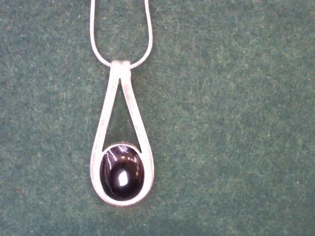 Black Stone Silver-Stone Pendant 925 Silver 22.9g