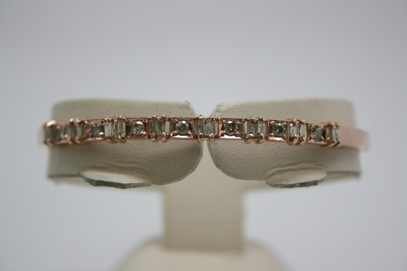 FASHION DIAMOND BANGLE BRACELET 14K ROSE GOLD