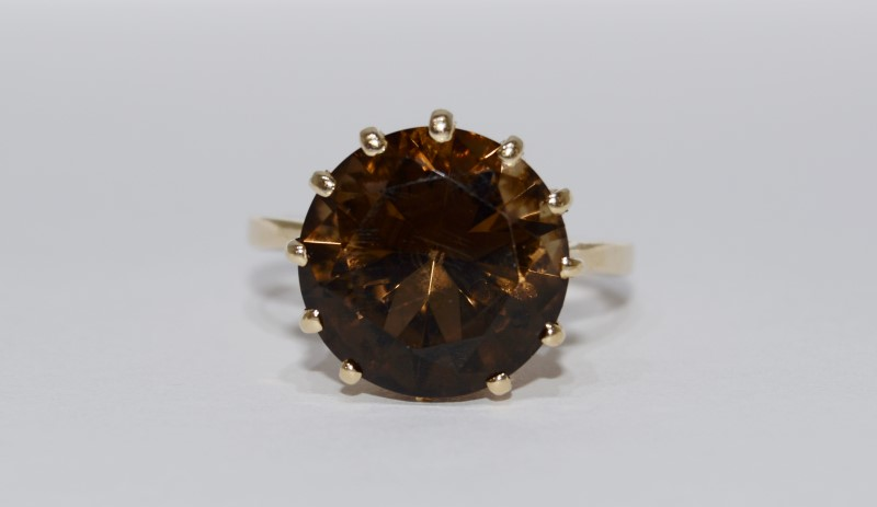 18K Yellow Gold Basket Set Large Round Smokey Topaz Cocktail Ring sz 9
