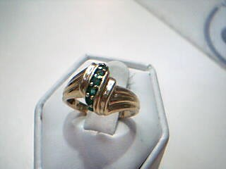 Synthetic Emerald Lady's Stone Ring 14K Yellow Gold 4.2g Size:6.5