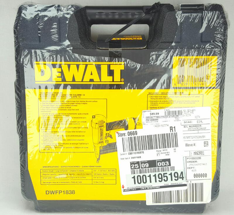 NEW! DEWALT DWFP1838 18GA FINISH STAPLER