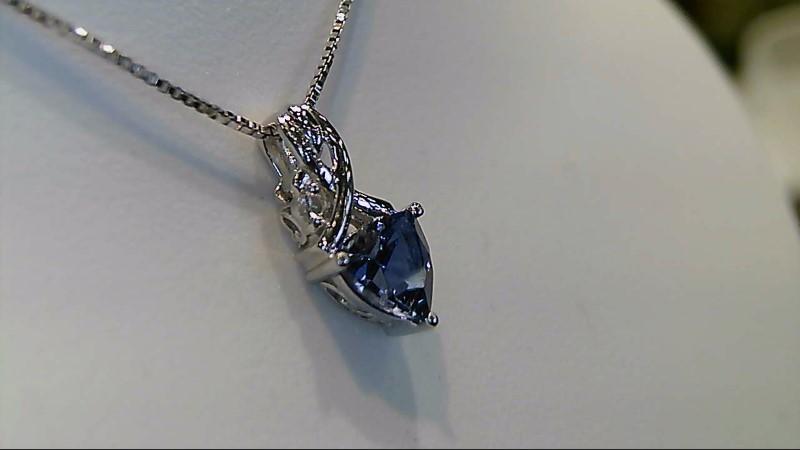 Tanzanite Diamond & Stone Necklace .01 CT. 925 Silver 2.1g