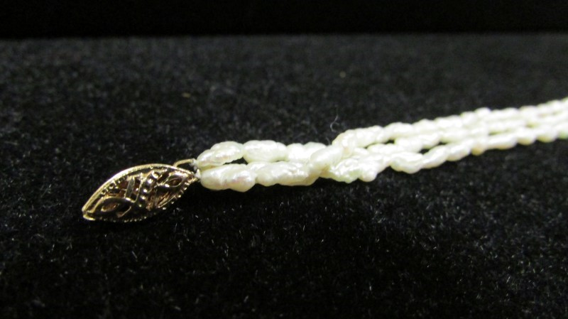 Synthetic Pearl Strand Gold-Stone Bracelet 14K Yellow Gold 6.2g