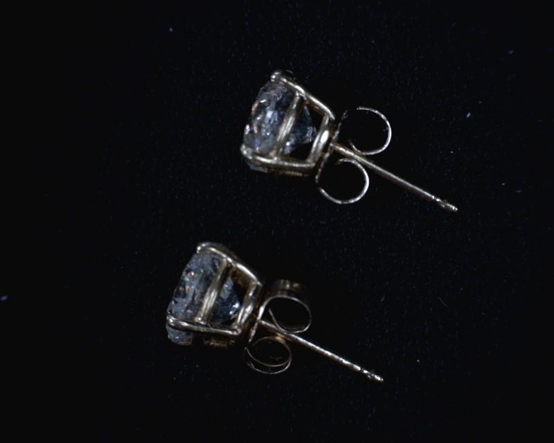 Gold-Diamond Earrings 2 Diamonds 2.10 Carat T.W. 14K Yellow Gold 1dwt