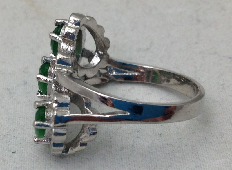 Lady's Unique Three Emerald Engagement, Statement, Promise Ring Size 8