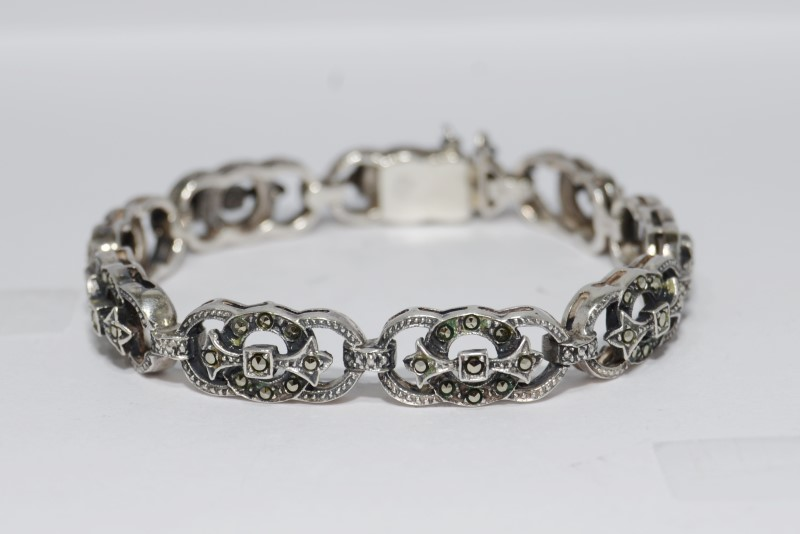 "6"" Sterling Silver Vintage Inspired Ornate Marcasite Bracelet w/ Safety Chain"