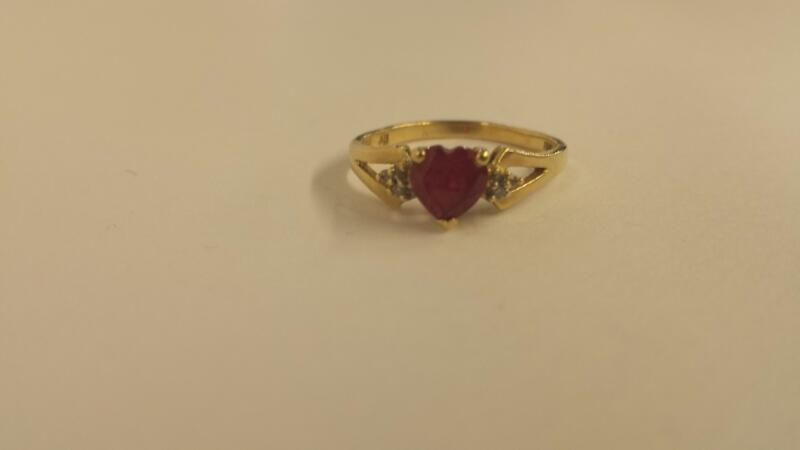 10K-Y/G Lds Stone (Red Heart) And Diamond Ring