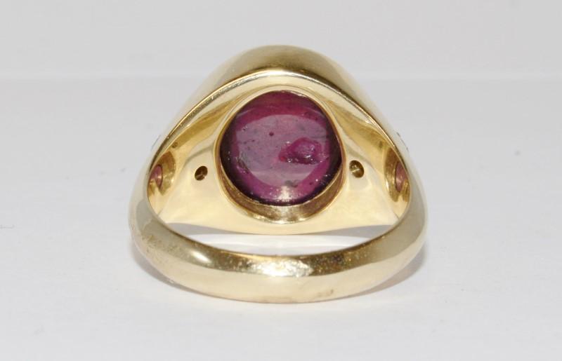 14K Men's Yellow Gold Bezel & Cabochon Rubellite Tourmaline Ring Size 11