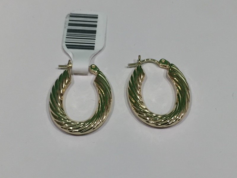 Gold Hoop Clamshell Earrings 14K Yellow Gold 2.1g