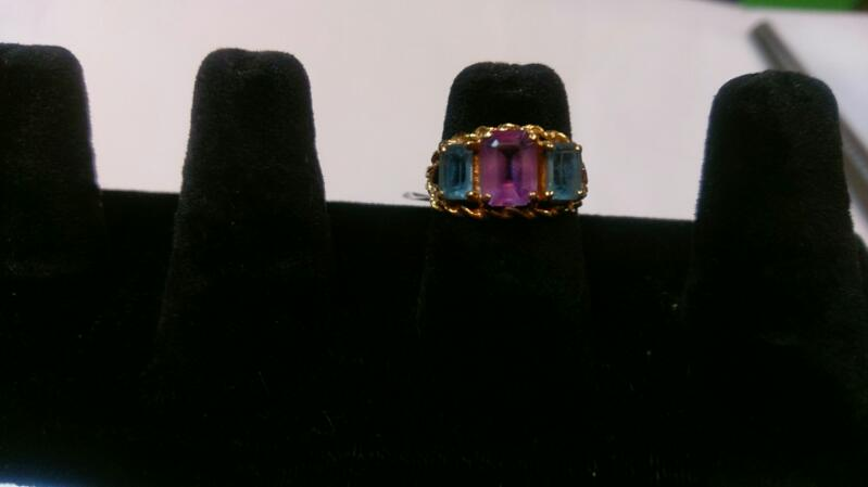 Synthetic Blue Topaz Lady's Stone Ring 14K Yellow Gold 3g Sz 6