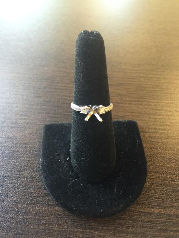Lady's Diamond Ring Mount 14 Diamonds .32 Carat T.W. 14K White Gold 2.6g
