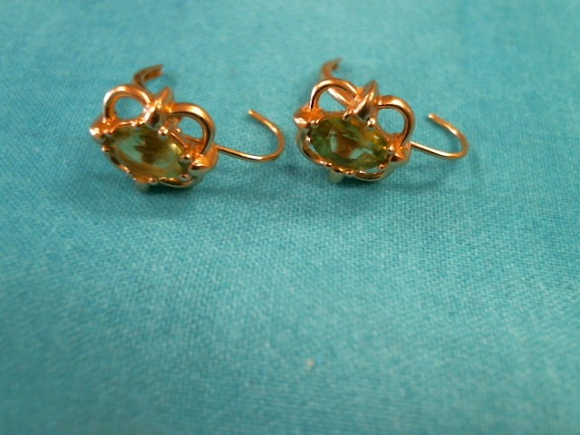 Synthetic Green Tourmaline Gold-Stone Earrings 14K Yellow Gold 2.2dwt