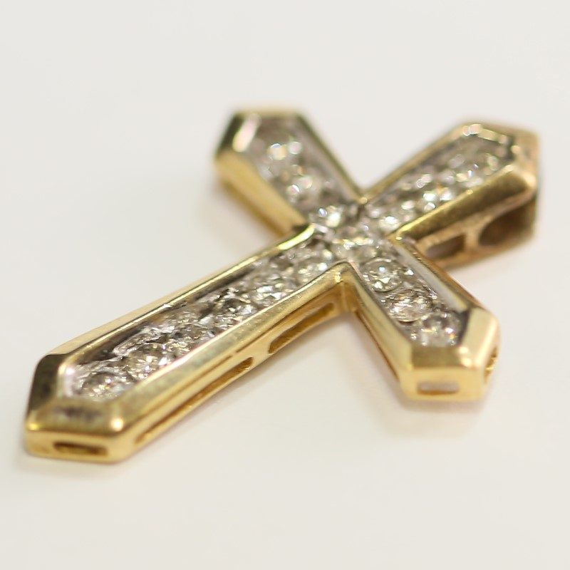 Channel Set Round Brilliant Diamond 10K Yellow Gold Cross Pendant