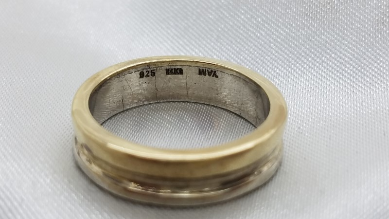 Gent's 14KYG/925 Silver Diamond Hebrew Inscribed Wedding Band  . 5.3g