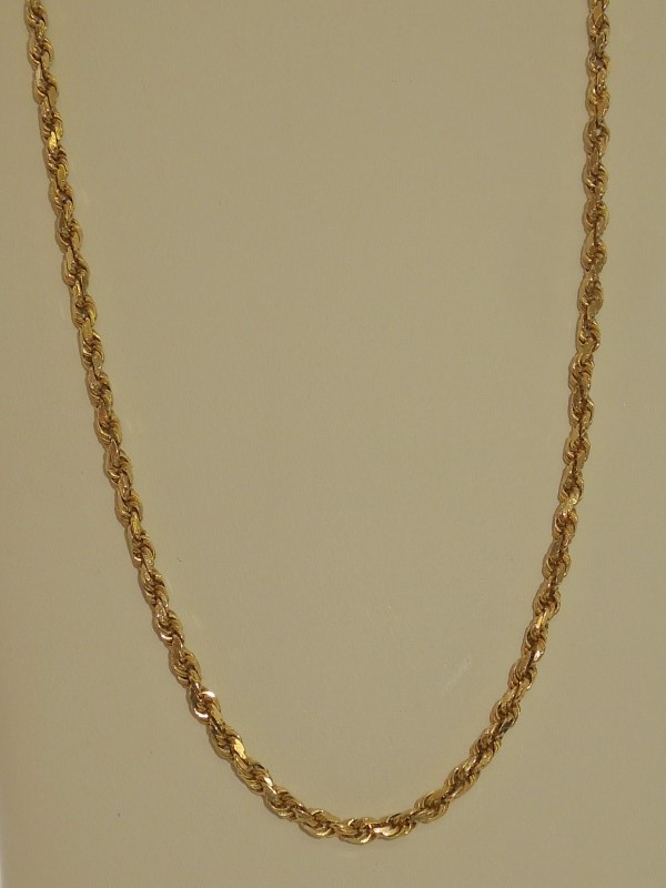 """22"""" Gold Rope Chain 14K Yellow Gold 15.9g"""