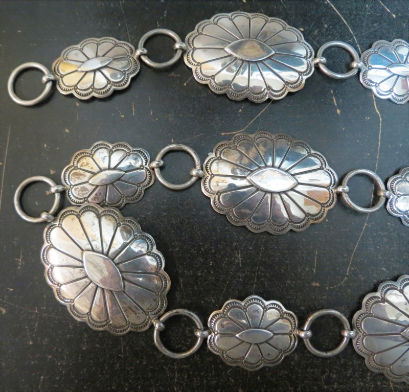 "CONCHO BELT, STERLING SILVER, MEXICO, ADJUSTABLE FROM 39"" DOWN, 6.5 Ounces"