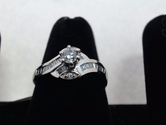 Lady's Diamond Solitaire Ring 23 Diamonds .37 Carat T.W. 14K White Gold 3g