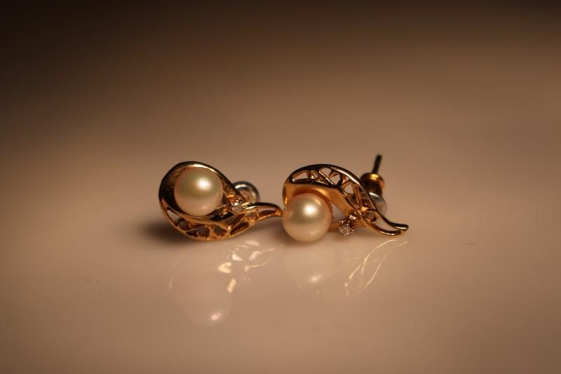 Pearl Gold-Diamond & Stone Earrings 2 Diamonds .010 Carat T.W. 14K Yellow Gold