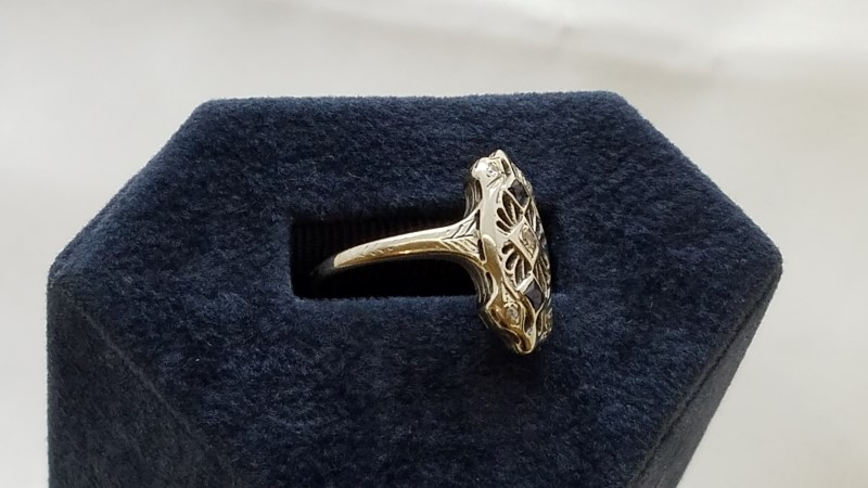 Art Deco Sapphire & Diamond Ring 5 Diamonds .25 TCW 18K White Gold