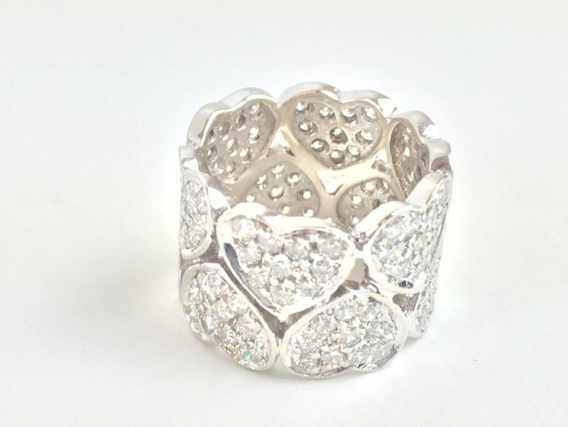 Lady's Diamond Pave Heart Ring 3.60 Carat T.W. 14K White Gold 8.35g