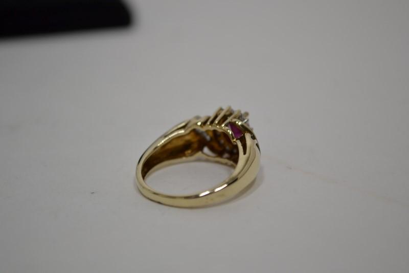 Ruby Lady's Stone & Diamond Ring 22 Diamonds .22 Carat T.W. 14K Yellow Gold